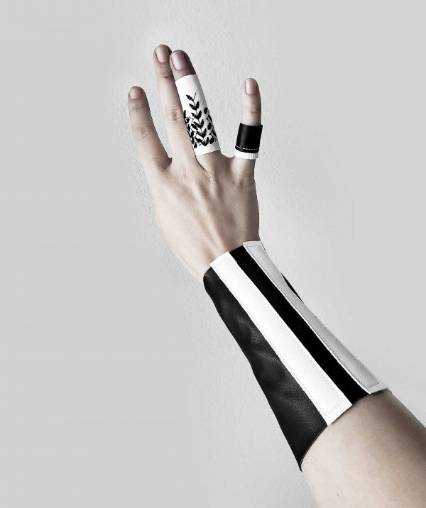 black-and-white-vegan-leather-unisex-logn-bracelet-arm-cuff