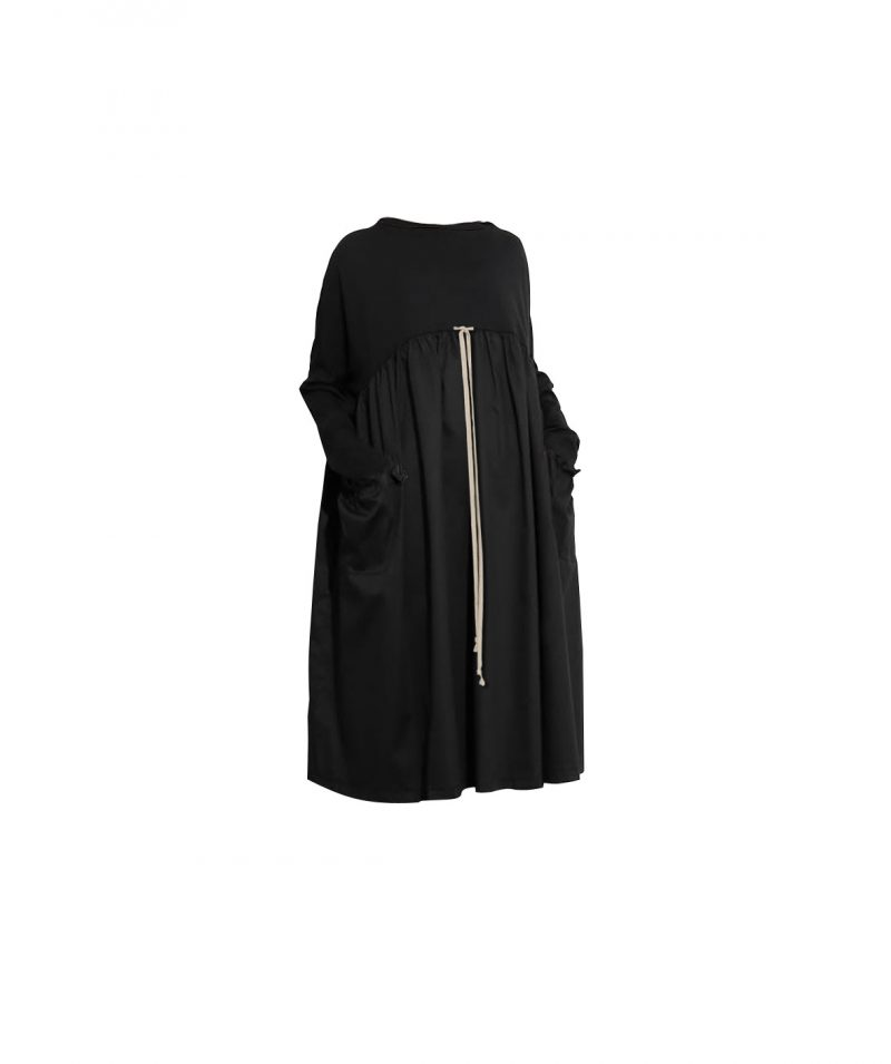 black-loose-long-sleeve-knee-long-dress-with-cotton-rope