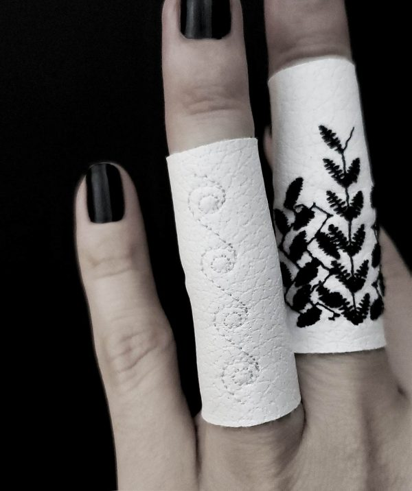 frozen-rannka-white-embroidered-vegan-leather-ring