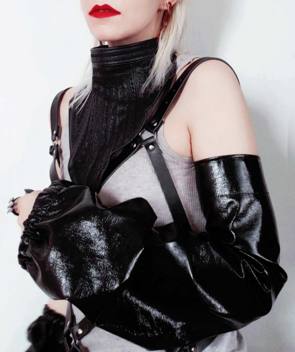 long-puff-pvc-black-sleeve-rannka-fingerless-long-glove-long-arm-cuff