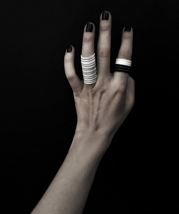 wintersong-ring-rannka-black-and-white-jewelry-colelction-vegan-leather-rings