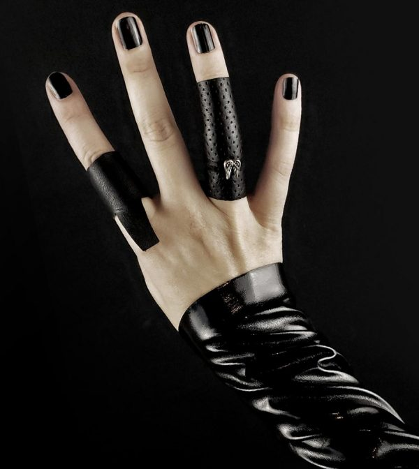 black-long-leather-ring-with-metal-silver-angels-wings-rannka-armor-collection-jewelry