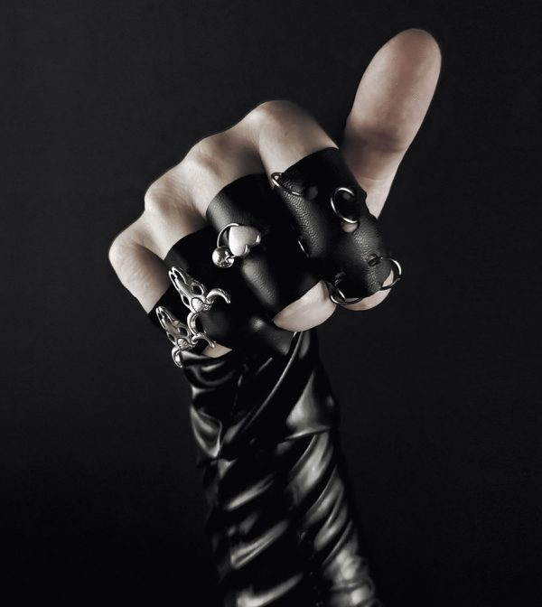 rannka-armor-leather-metal-rings-silver-ring-bands