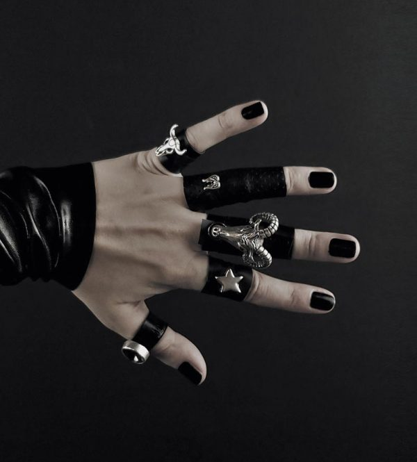 rannka-armor-ring-collection-black-leather-silver-metal-skulls-angel-wing-ram-goat-head-fortuna-ring