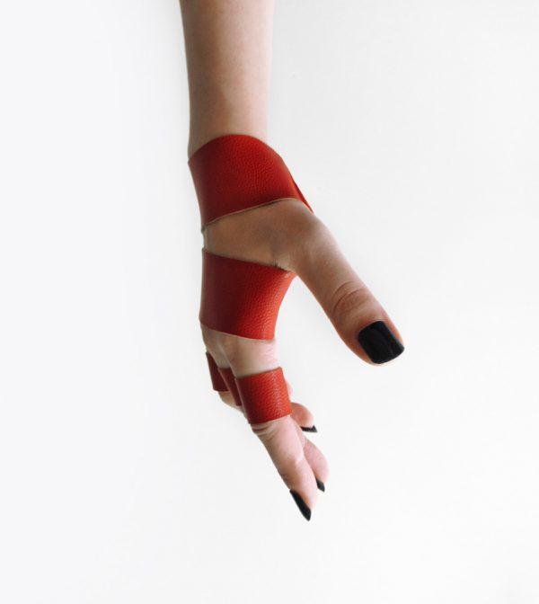 red-bracelet-ring-set-rannka-faux-leather-unisex-vegan-jewelry