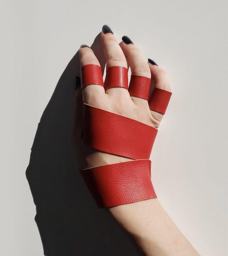 red-set-double-arm-band-4-ring-set-vegan-faux-leather-rannka