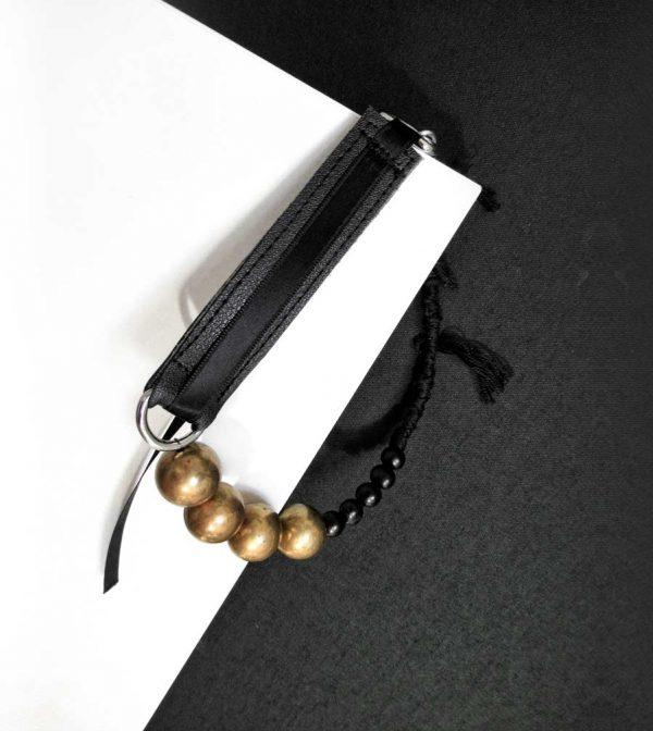 black-leather-raw-brass-choker-necklace-with-acai-black-beads-rannka-jewelry-1