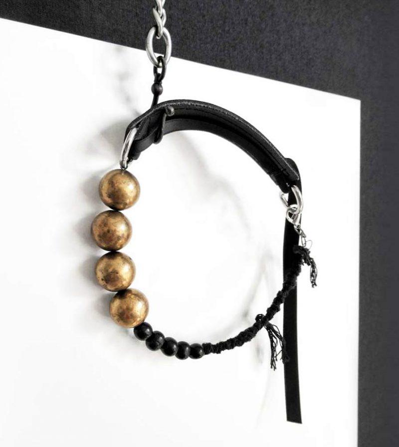 black-leather-raw-brass-choker-necklace-with-acai-black-beads-rannka-jewelry-2