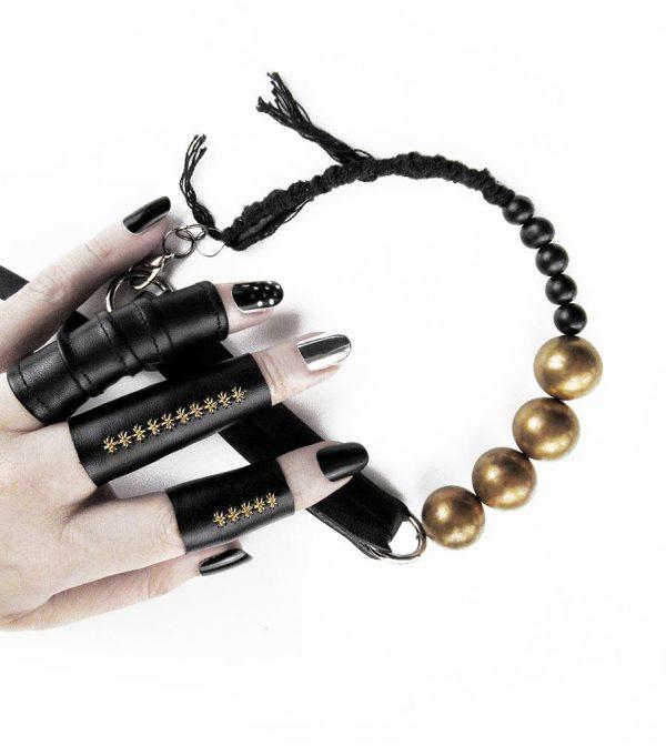 black-leather-raw-brass-choker-necklace-with-acai-black-beads-rannka-jewelry-5