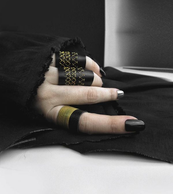 gold-black-leather-rings-rannka-rex-collection