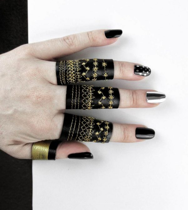 long-cadence-ring-black-leather-gold-embroidery-rannka-rex-collection