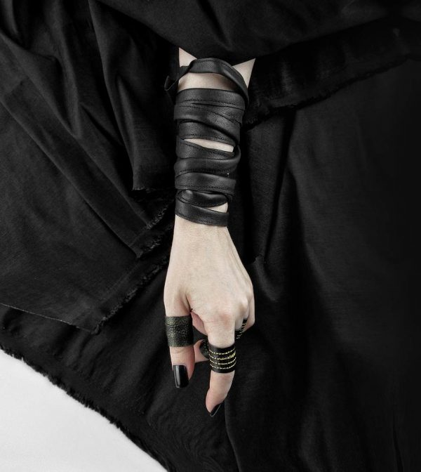vegan-leather-black-long-bracelets-and-rings
