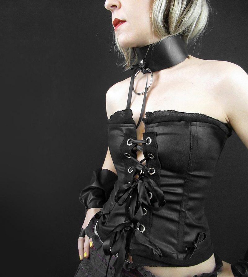 black-wax-stretch-cotton-rannka-corset-with-leather-ribbons