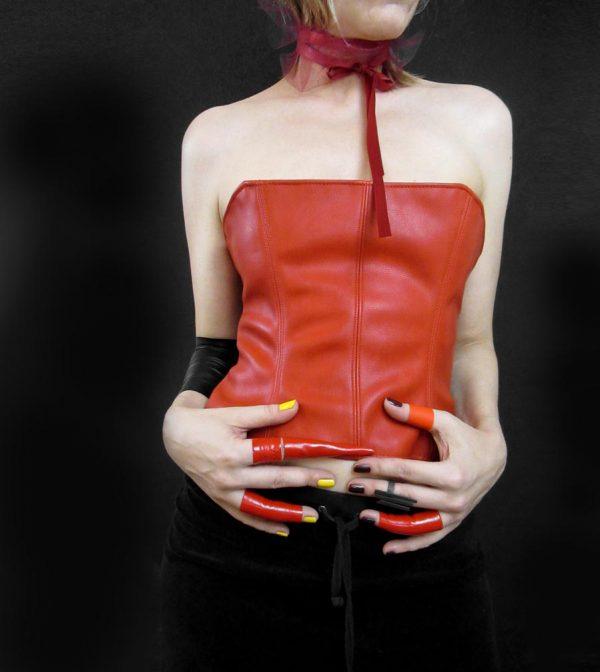 rannka-red-faux-leather-corset