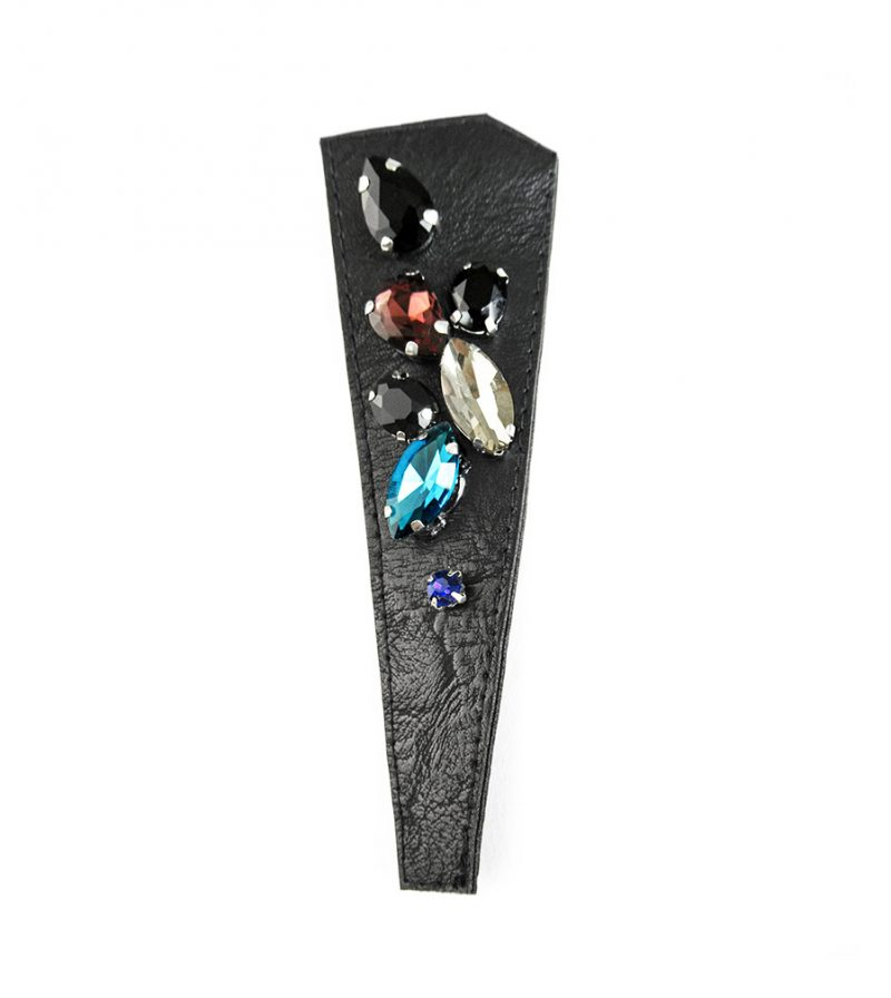 Last-Night-Black-leather-glass-earring-no-24-rannka