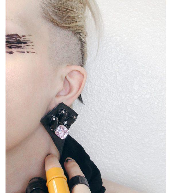Rannka-Last-Night-Earring-black-leather-glass-no-13-
