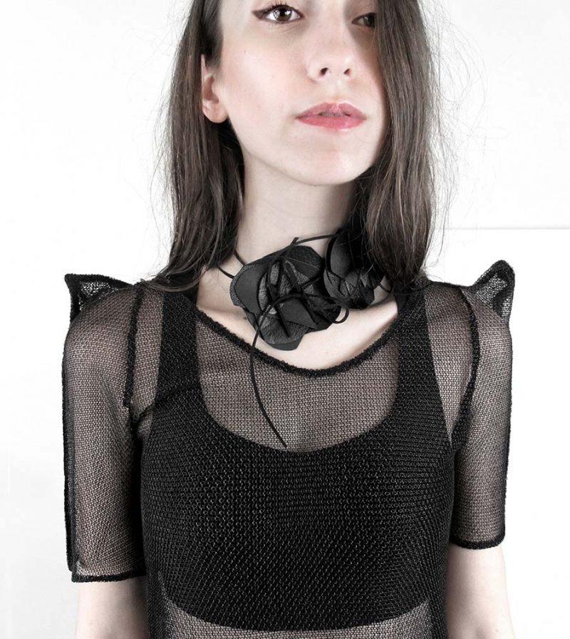 rannka-black-knit-chainmail-square-shoulder-tee-closeup